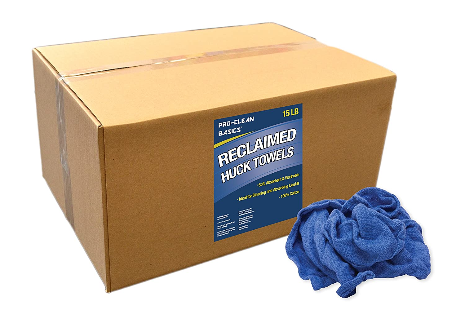 Pro-Clean Basics Reclaimed Huck or Surgical Towels 15 lb Box R/&R Textile Mills A99101