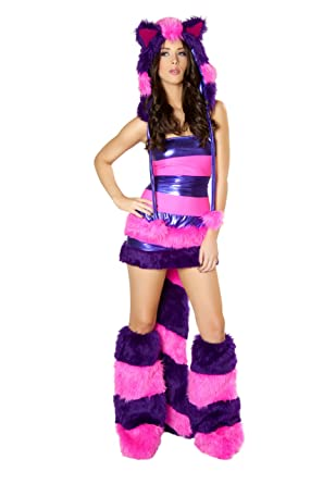 J. Valentine Womenu0027s Chesire Cat Costume Striped Tube Top And Wide Elastic  Waist Skirt With