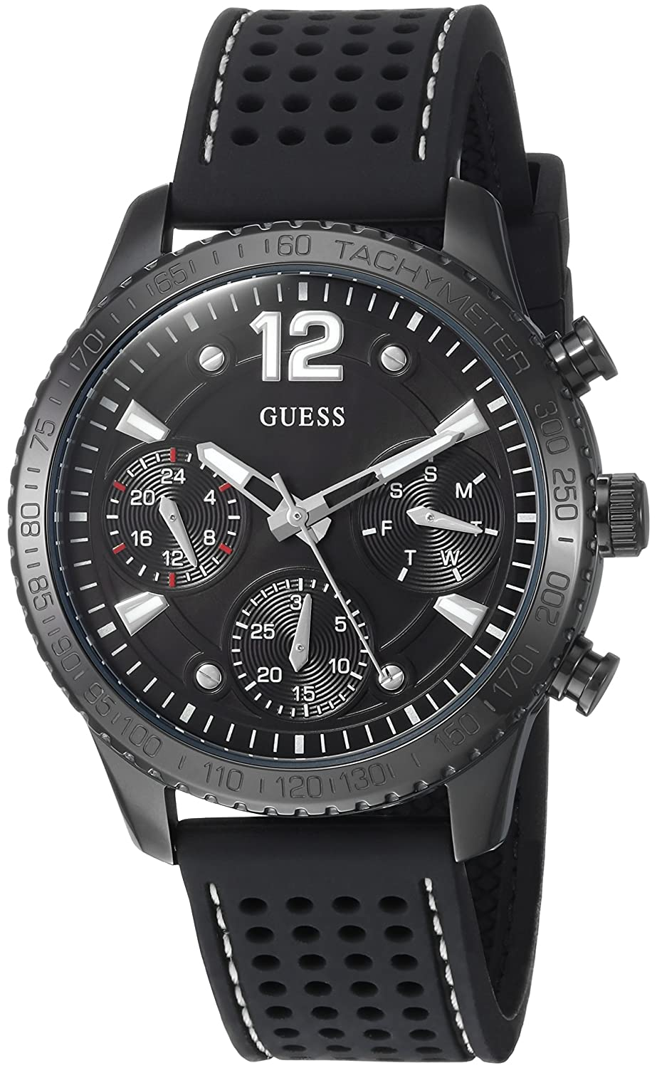 GUESS Women s Stainless Steel Multifunction Silicone Casual Watch