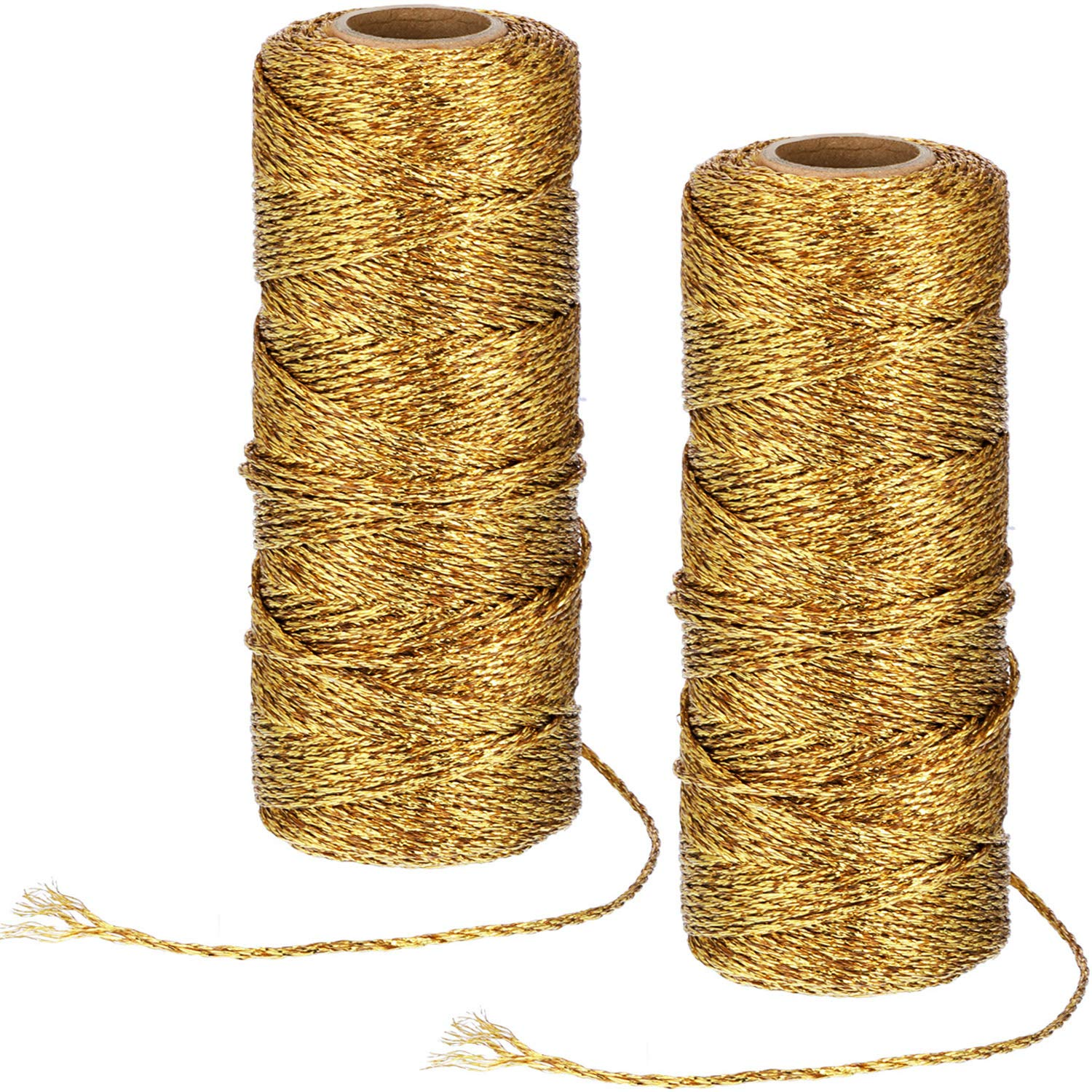 100 Yards Twine Gold//White Darice 30030708 Bakers Gold /& White