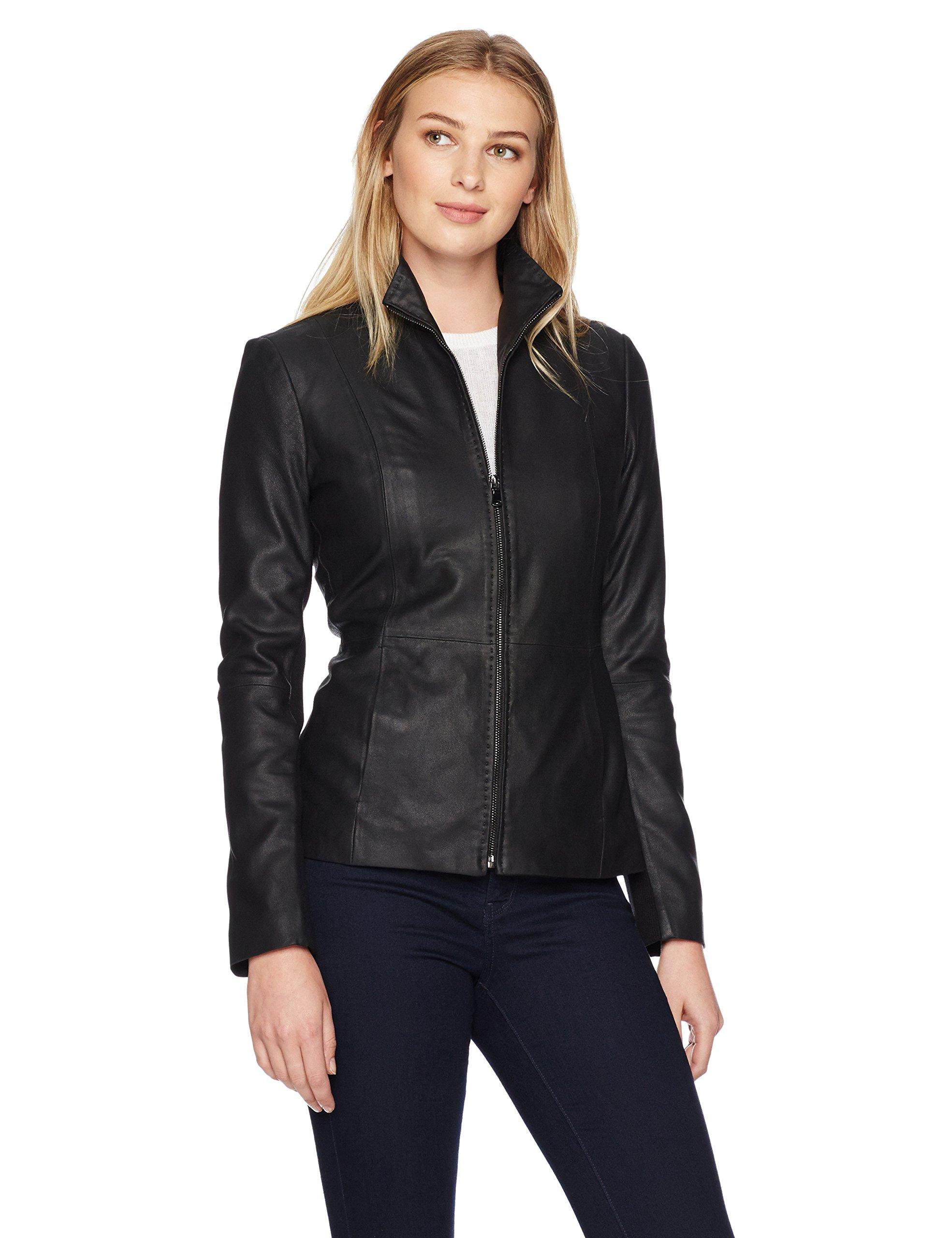 Lark & Ro Women's Scuba Leather Jacket, Black, Extra Large