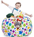 """Stuffed Animals Storage Bean Bag Cover - Premium Quality Cotton Canvas. Best Kids Toy Organizer and Comfy Chair. Unique Design: Holiday Stars. 38"""" (No Filler Included)"""