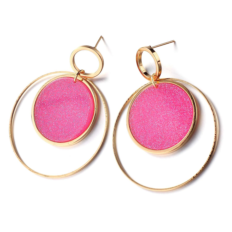 Aganippe Stainless Steel Hoop Earrings Transparent Acrylic Circle Drop Earrings for Girls