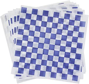 Dry Wax Paper Deli Wrap and Basket Liner (100, Blue Checkered 12x12)