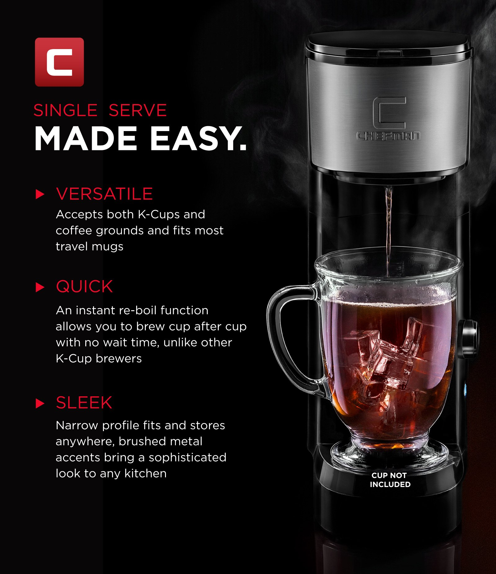 Chefman Coffee Maker K-Cup InstaBrew Brewer - Free Filter Included For Use With Coffee Grounds - Instant Reboil - Single Serve-Mug NOT Included by Chefman (Image #3)