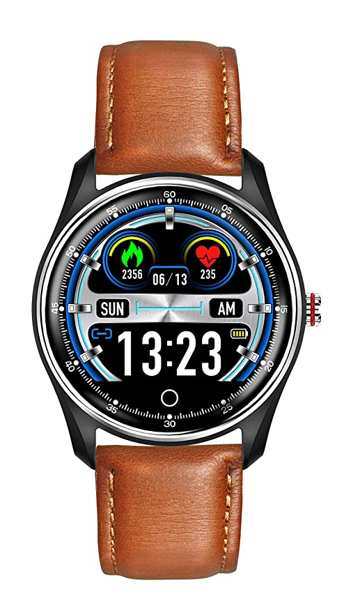 HAMSWAN MX9 ECG Smart Watch Blood Pressure PPG Heart Rate Blood Pressure Monitor Multi-Languages IP68 Waterproof Smartwatch Clock for Men Women(Brown ...