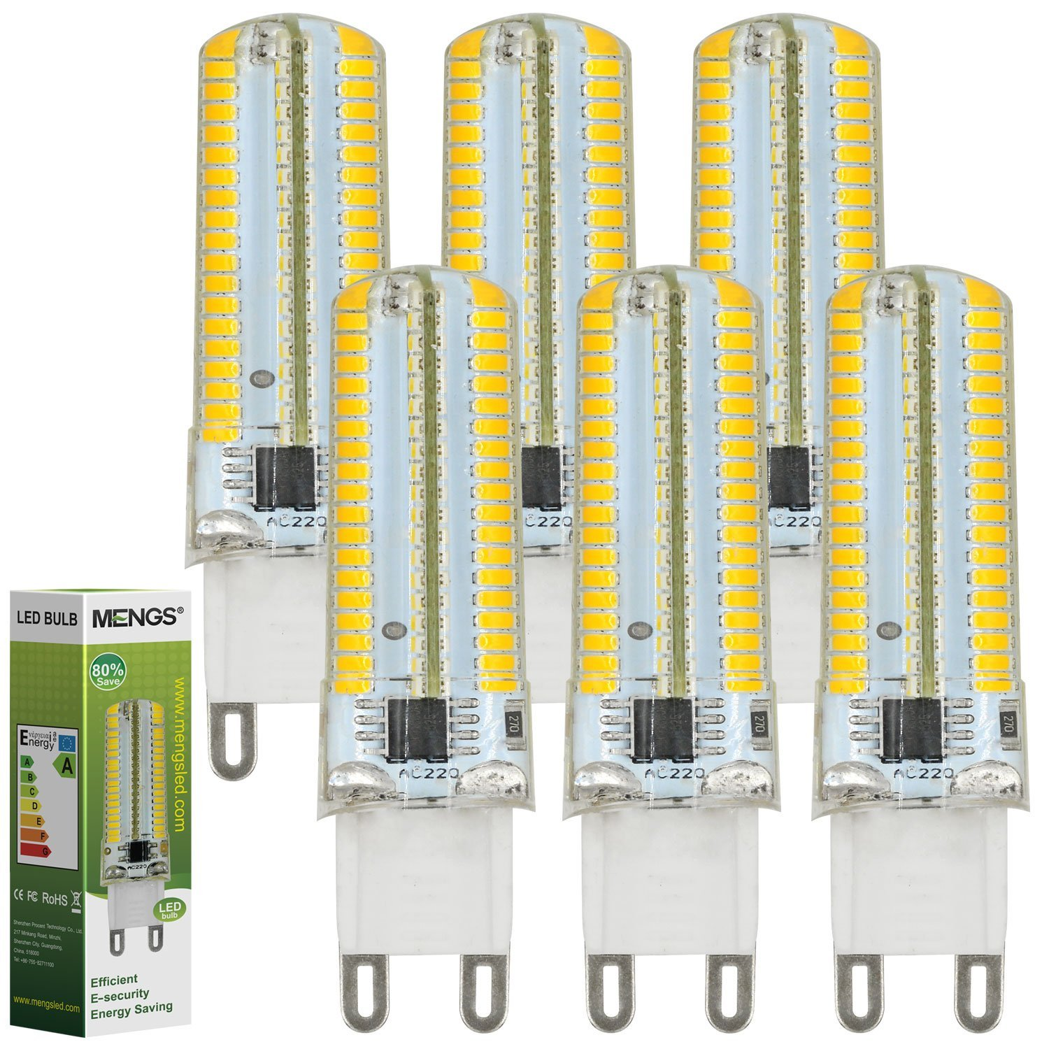MENGS® Pack de 6 Regulable Bombilla lámpara LED 7 Watt G9, 152x 3014 SMD, Blanco Cálido 3000K, AC 220-240V: Amazon.es: Iluminación