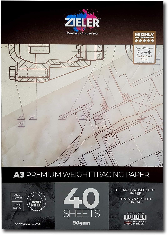 ZielerTM Bloc de 40 feuilles de papier calque Premium Haute transparence et lisse Fabriqu/é au Royaume-Uni A3 112gsm