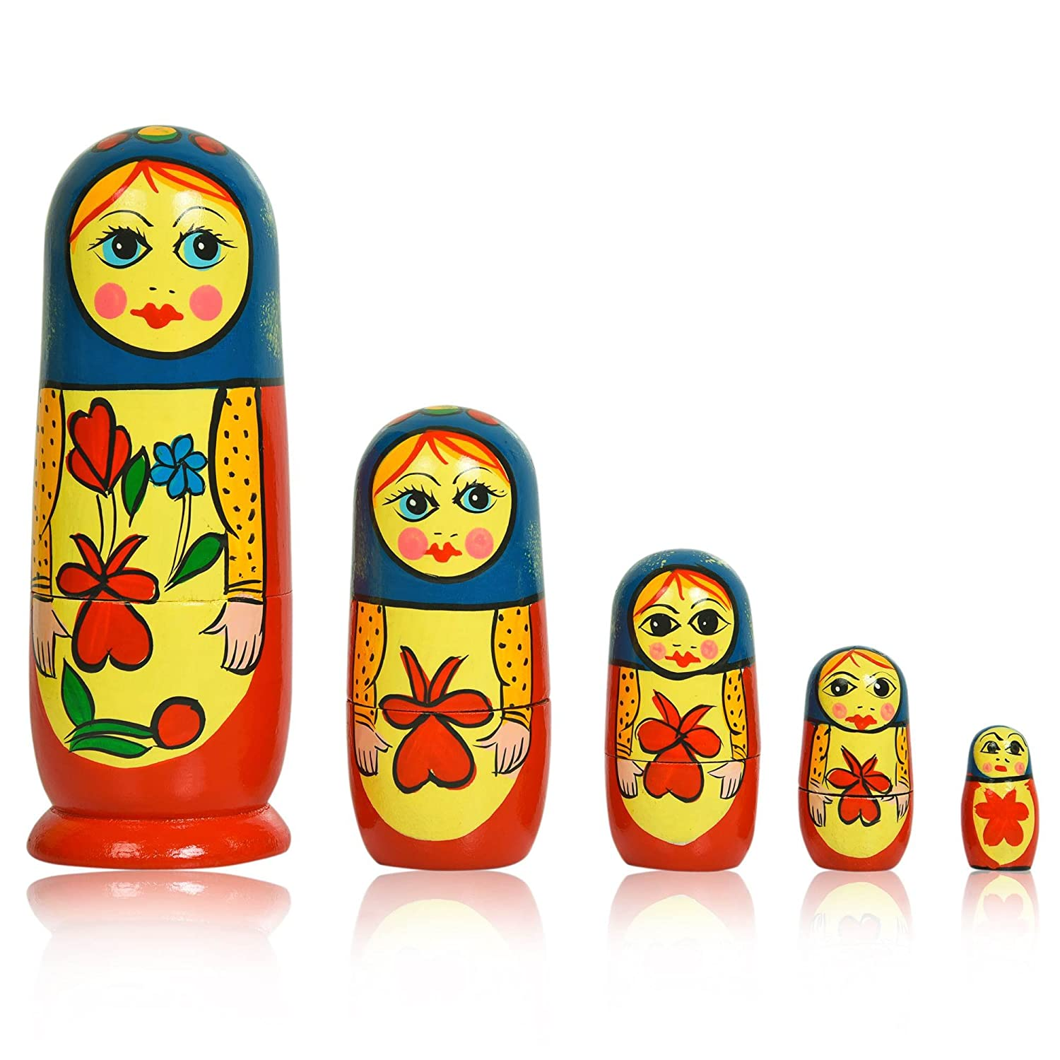 Fine Craft India Set of 5 Piece Hand Paints Matryoshka Traditional Indian Nesting Stacking Wooden Nested Dolls Christmas