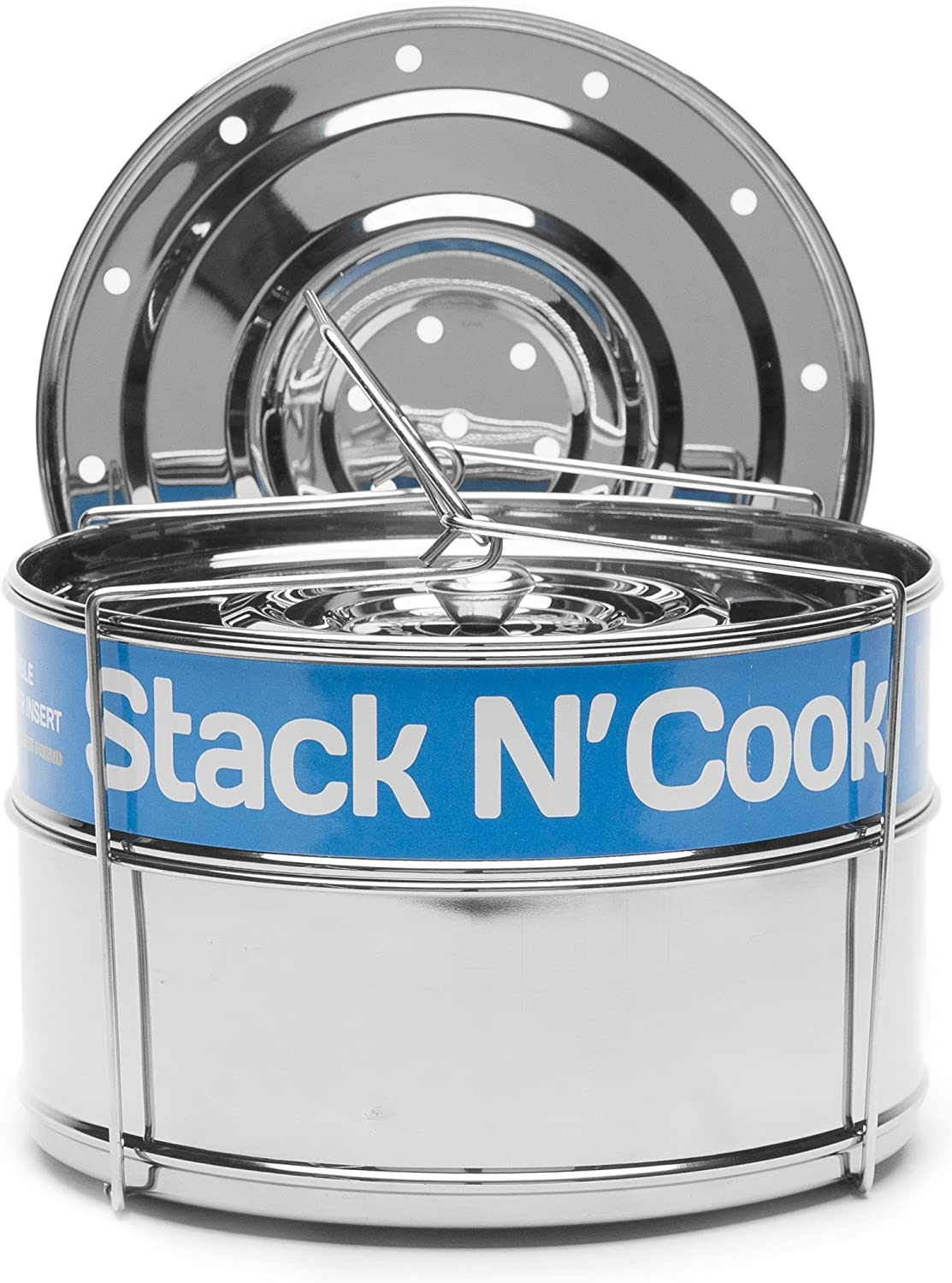 8 Qt Stack N' Cook Stackable Insert Pans with Sling - Instant Pot Accessories for 8 Qt Baking, Casseroles & Lasagna Pans, Food Steamer - Pressure Cooker, Pot in Pot Accessories - Interchangeable Lid