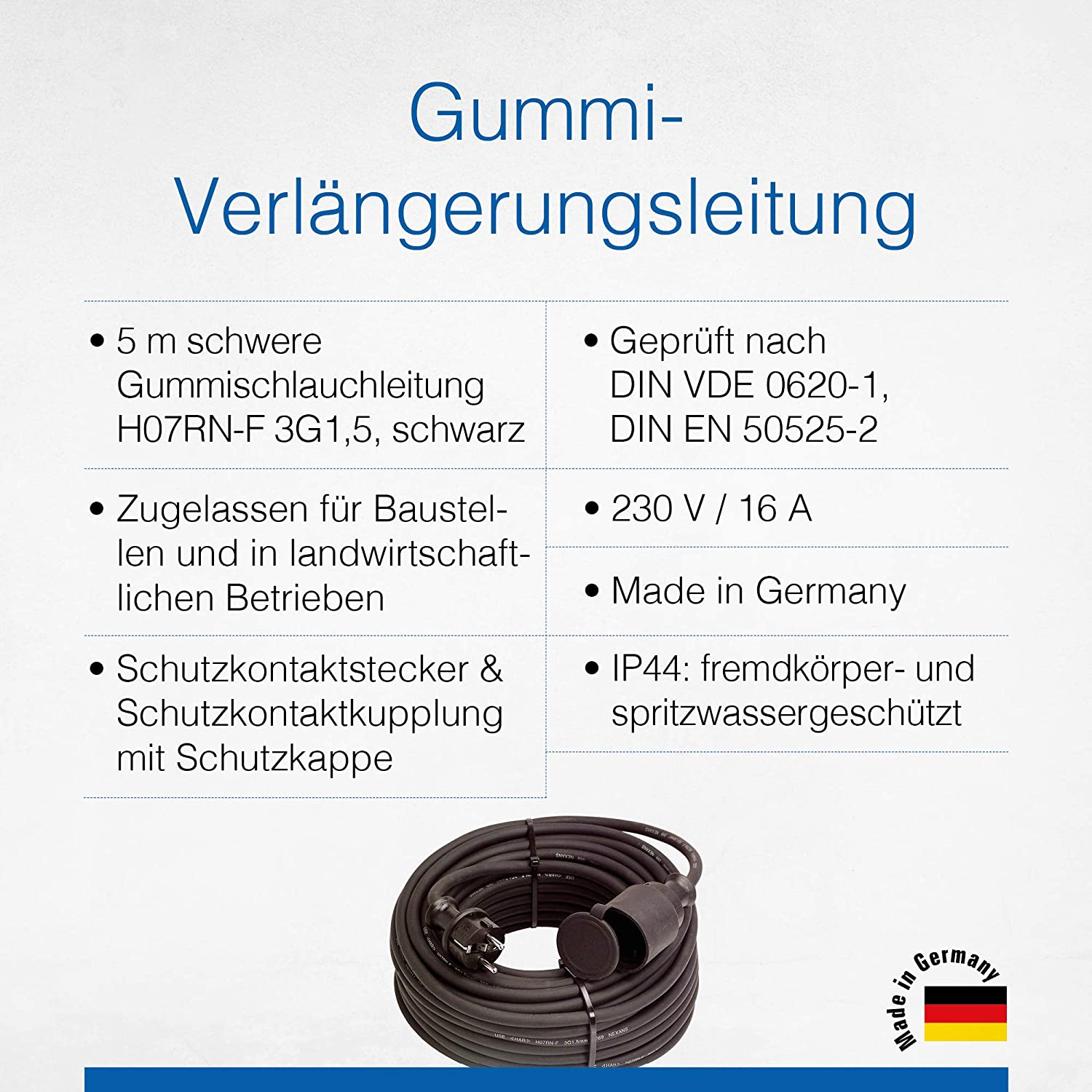 As Schwabe Rubber Extension Cable 5 M Cable With Protective Contact Plug Protective Contact Coupling Incl Protective Cap 230 V 16 A Extension Cable Ip44 Made In Germany Black I 60372 Baumarkt