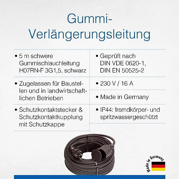 As Schwabe Gummi Verlängerungsleitung 5 M Kabel Mit Schutzkontaktstecker Schutzkontaktkupplung Inkl Schutzkappe 230 V 16 A Verlängerungskabel Ip44 Made In Germany Schwarz I 60372 Baumarkt