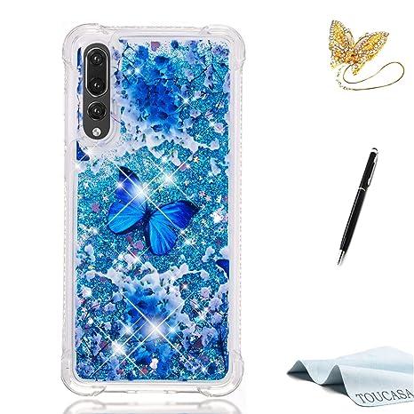 TOUCASA Funda Huawei P20 Pro, Glitter Liquida Transparente TPU Silicona,Funda Móvil Case Líquido
