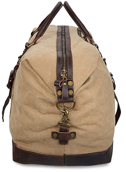 Amazon.com | ALTOSY Canvas Duffel Bag Genuine Leather Travel Tote Duffle Shoulder Handbag (Y2077, Khaki) | Travel Duffels