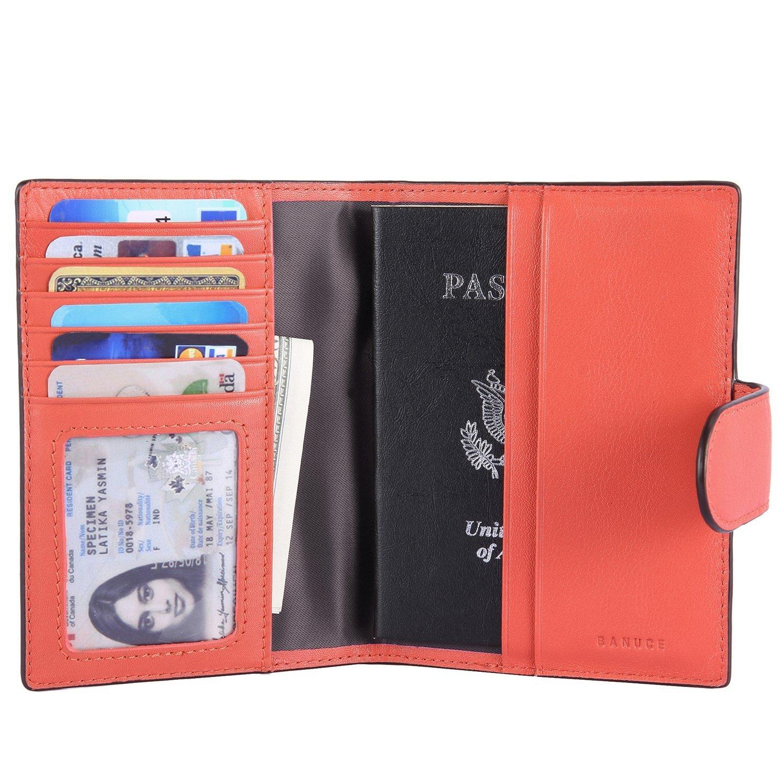 Funda para pasaporte de piel aut/éntica Banuce
