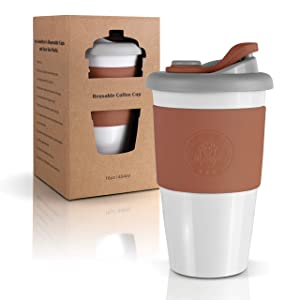 Mr. Cuppie Reusable Coffee Cup with Lid, Coffee To Go Travel Mug made of Eco-friendly BPA-Free Material with Non-Slip Sleeve, Dishwasher and Microwave Safe Insulated Coffee Mug, 16oz