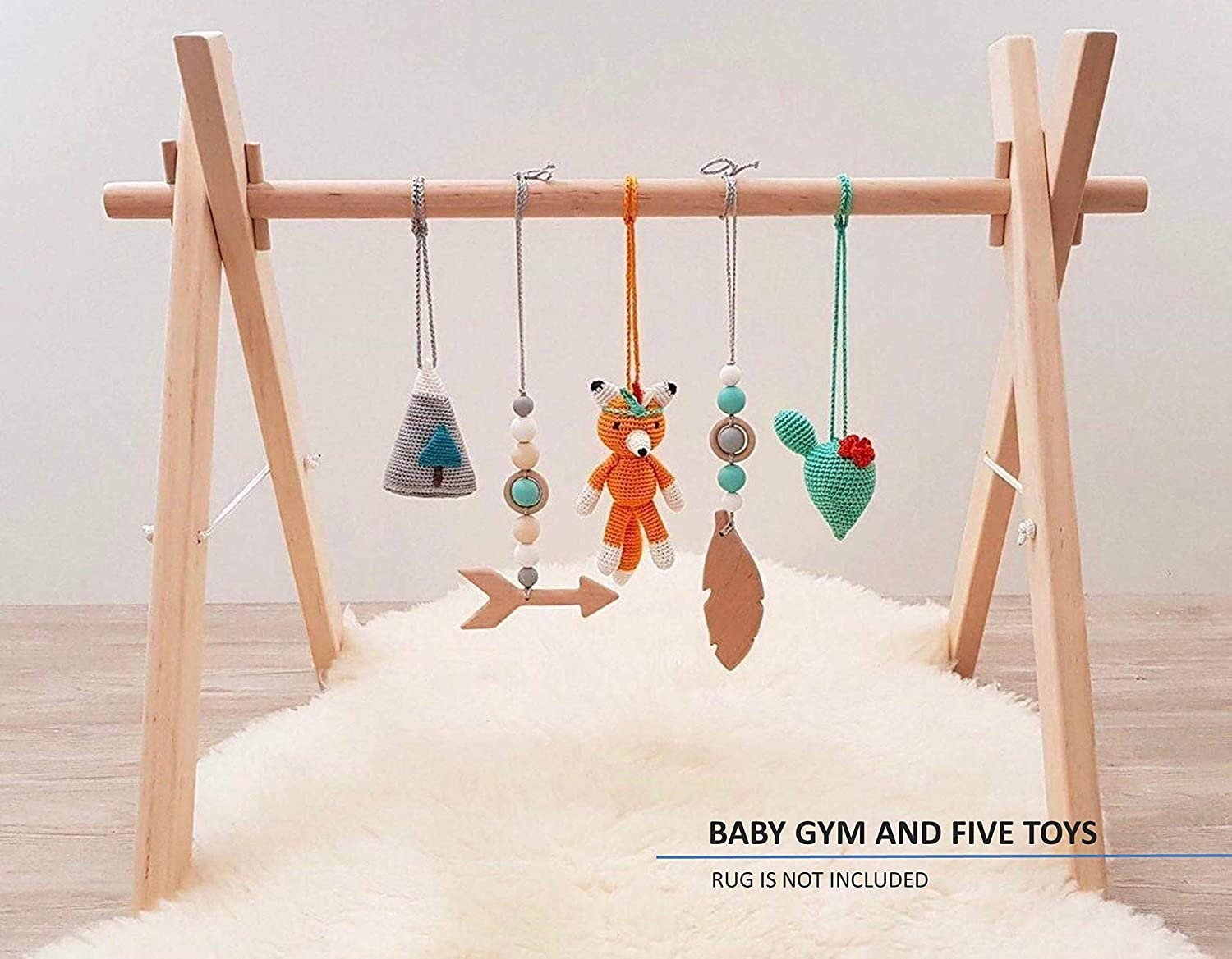 Tribal Baby gym with 5 mobiles: Fox, Cacti, Mountain, Feather, Arrow. Wood play gym, crochet and wooden baby gym mobiles. Infant activity center. Native american. Boho