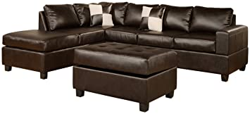 bobkona softtouch reversible bonded leather match 3piece sectional sofa set espresso
