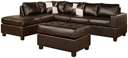 BOBKONA Soft Touch Reversible Bonded Leather Match 3 Piece Sectional Sofa Set Espresso