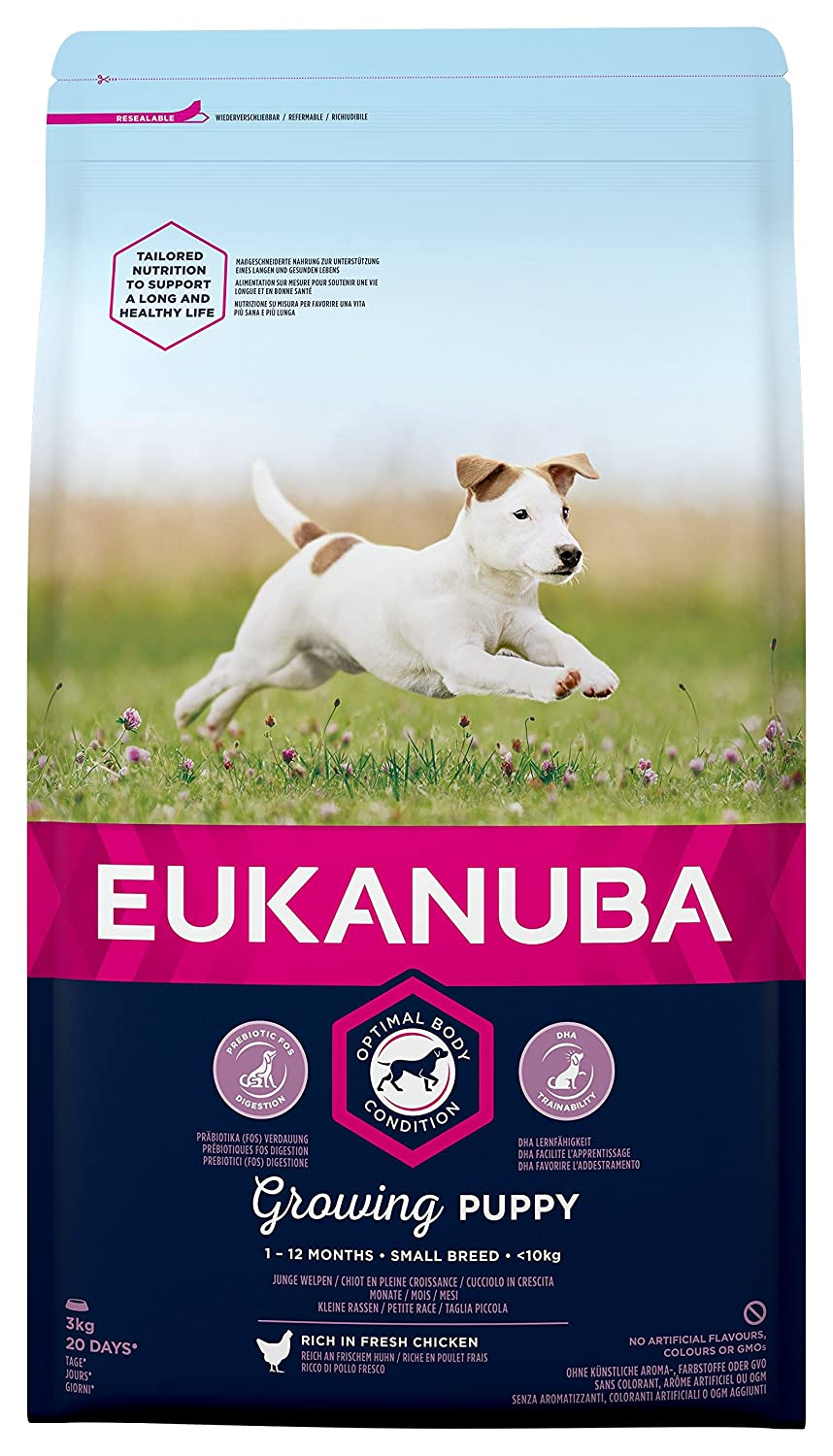 Eukanuba Puppy Dog Food for Small Dogs Rich in Fresh Chicken for the  Optimal Body Condition of Your Dog, 3 kg