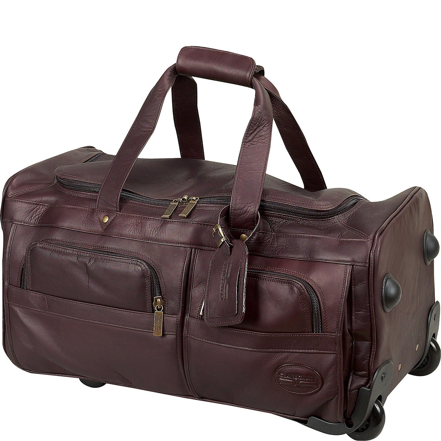 Claire Chase Leather Rolling Duffel Bag in Cafe by ClaireChase