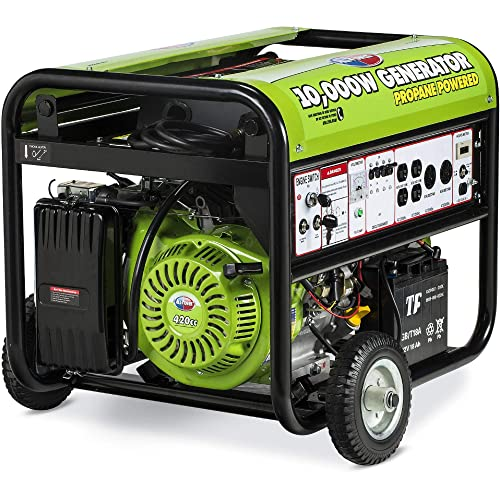All Power America APG3590CN 10000 Watt Propane Portable Generator w Electric Start for Home Backup Power, Hurricane Damage Restoration, RV Standby, Green Black