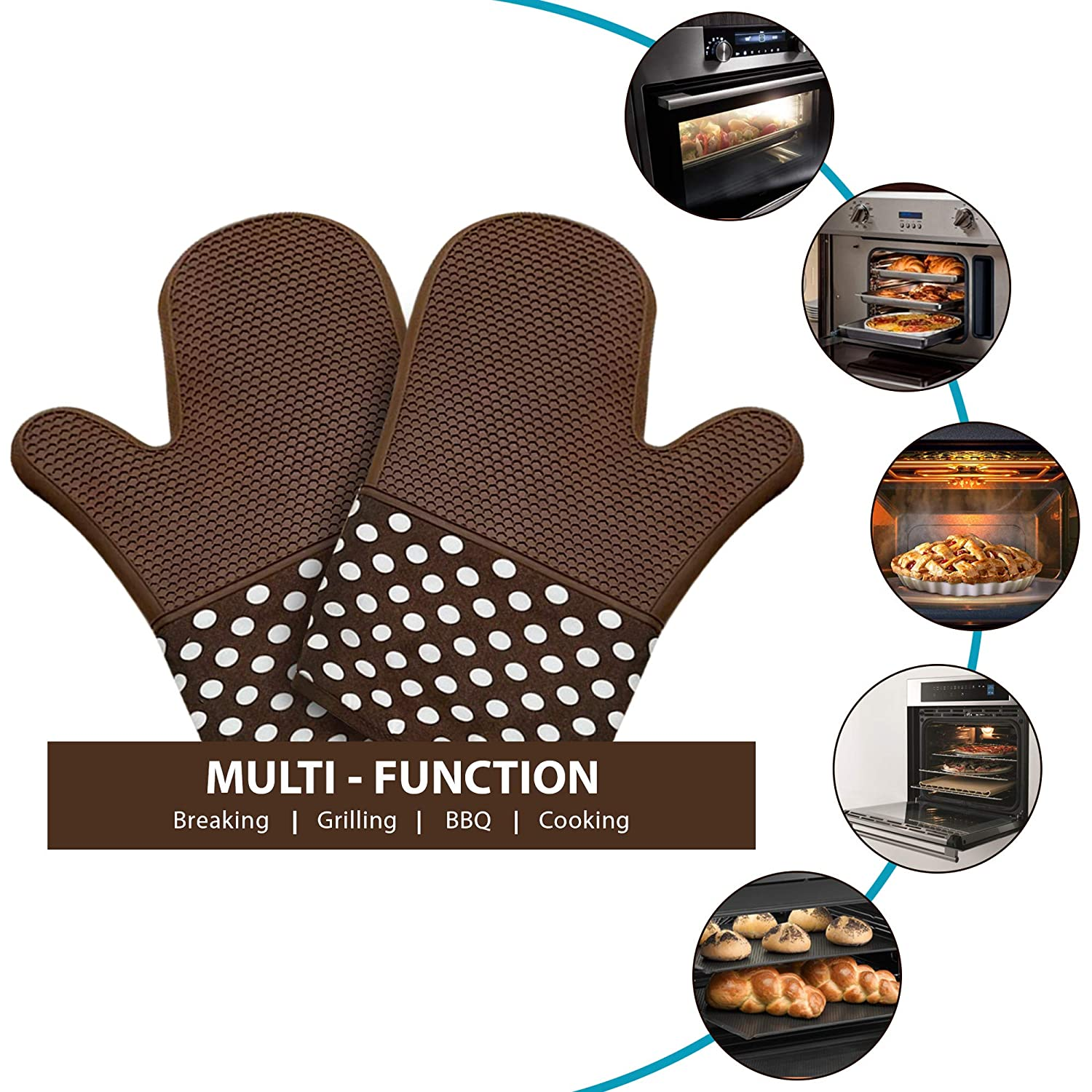 2 Pack Brown Coloured Oven Mitts with Non Slip Silicone Grip - Heat Resistant Pot Holder Gloves for Cooking and Baking