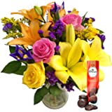 Clare Florist Summer Siesta Bouquet with Free Chocolates - Vibrant Fresh Flowers Hand Arranged for Birthdays, Celebrations and Other Occasions