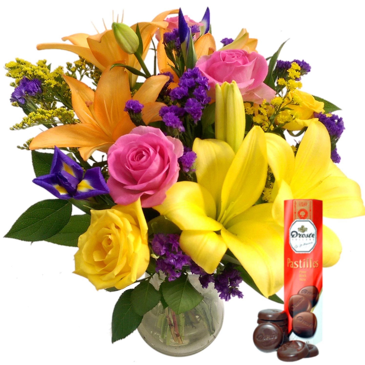 Clare Florist Summer Siesta Bouquet with Free Chocolates - Vibrant Fresh Flowers Hand Arranged for Birthdays, Celebrations and Other Occasions Y-1321-A