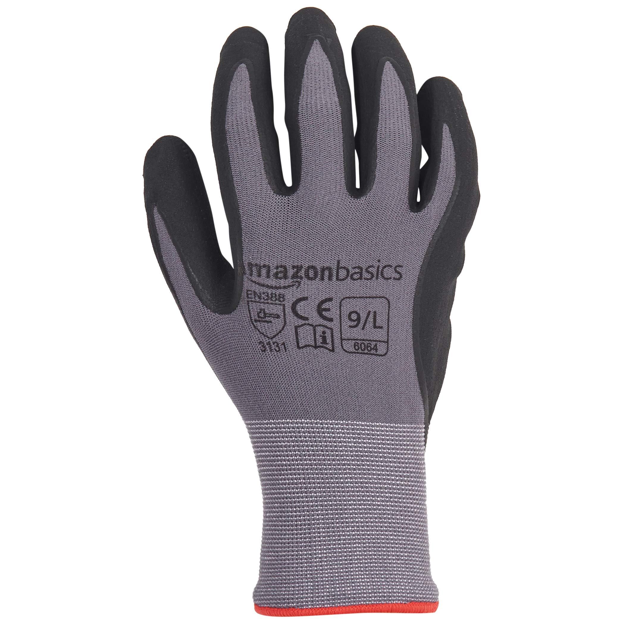 AmazonBasics Micro-Foam Nitrile Coated Work Gloves, Nylon Liner Fiber, Touch Screen, Grey, Size 9, L, 12-Pair by AmazonBasics (Image #4)