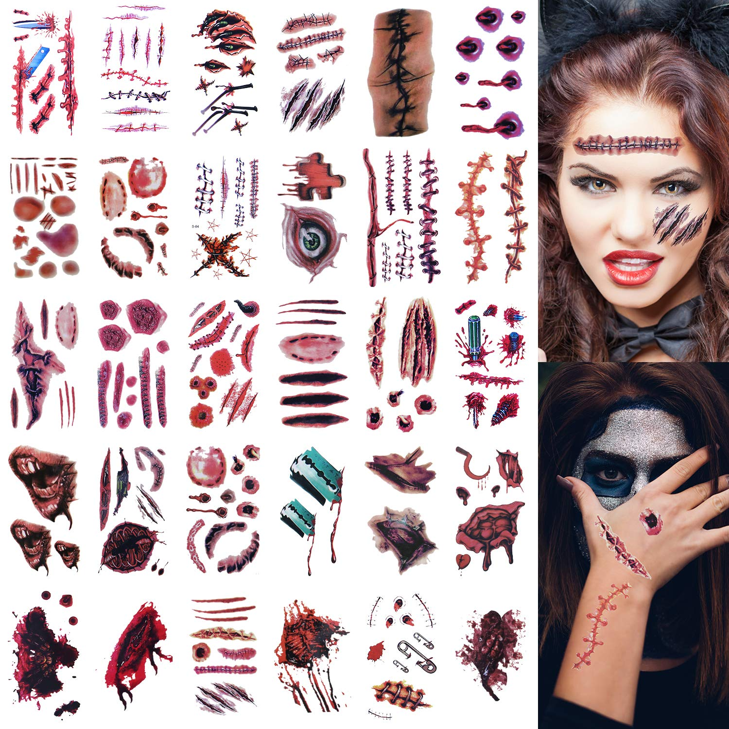 30 Sheets Halloween Zombie Tattoos, Zombie Makeup Kit, Scar Tattoos, 100+ Horror Realistic Fake Blood Temporary Tattoos Bleeding Wound Horror Injury Tattoo Stickers for Zombie Cosplay Party