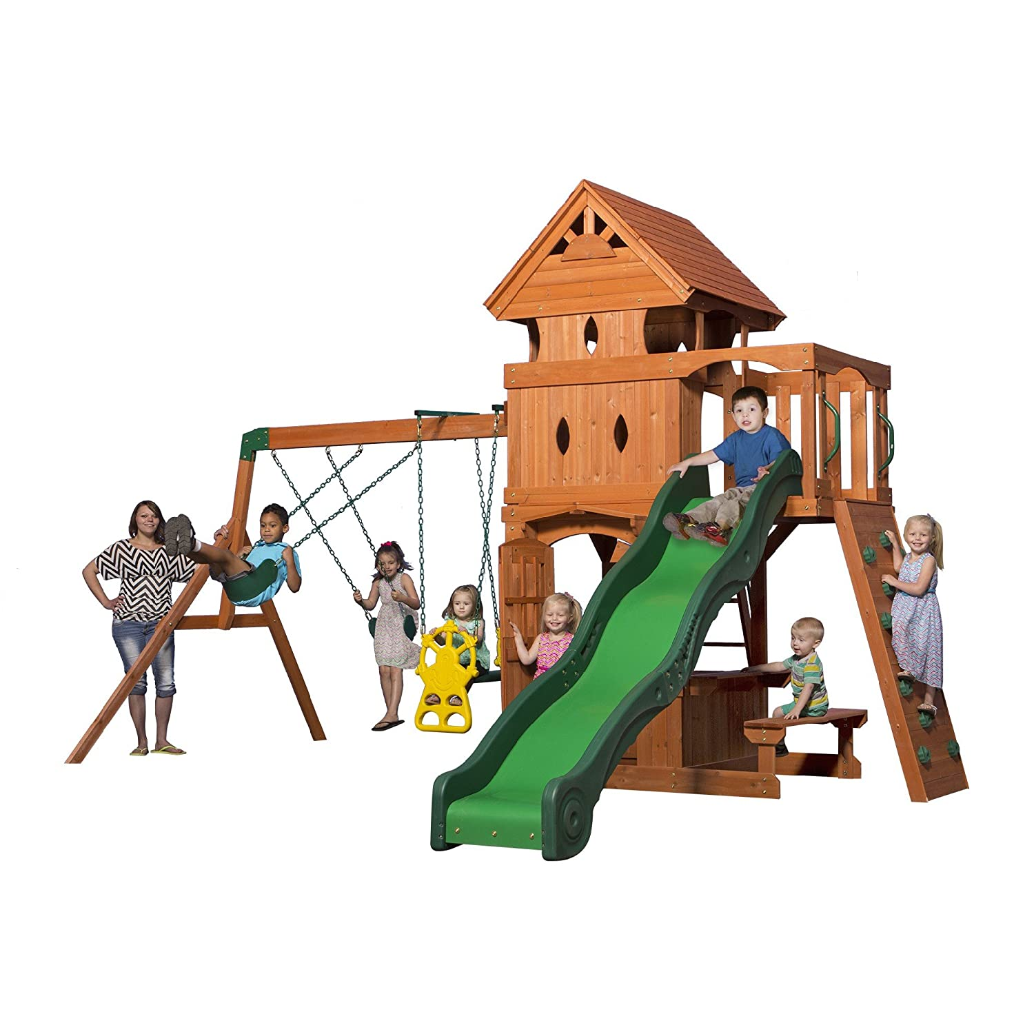Swing sets wayfair metal amp wooden swingsets for kids - Amazon Com Backyard Discovery Monterey All Cedar Wood Playset Swing Set Toys Games