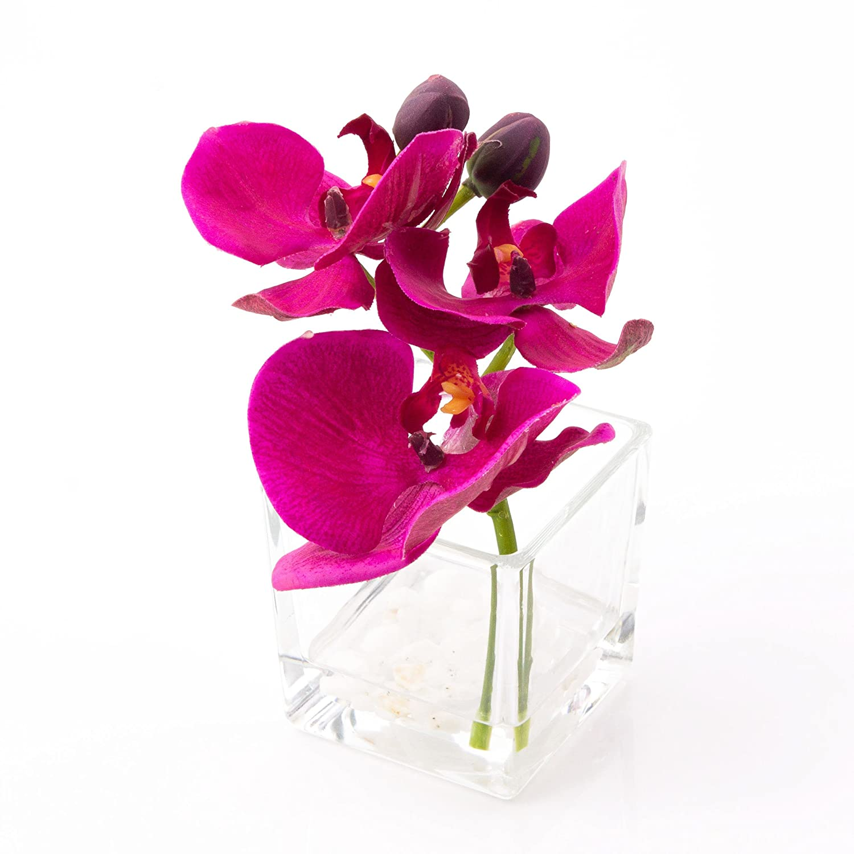 artplants Orchidea Phalaenopsis artificiale in vasetto di vetro, violetto, 15 cm, Ø 15 cm - Fiore plastica/Orchidea decorativa