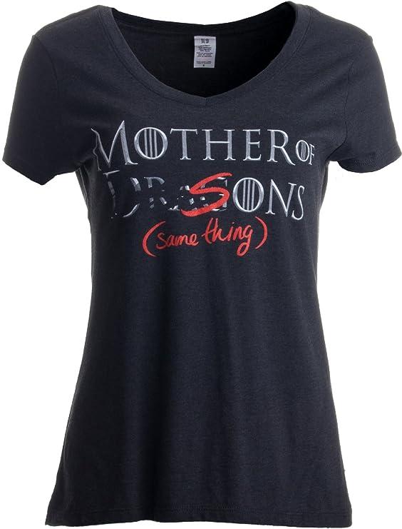 Mother of Dragons (er, Sons - Same Thing) | Funny Mommy Ladies' V-Neck T-Shirt-(Vneck,L) Black