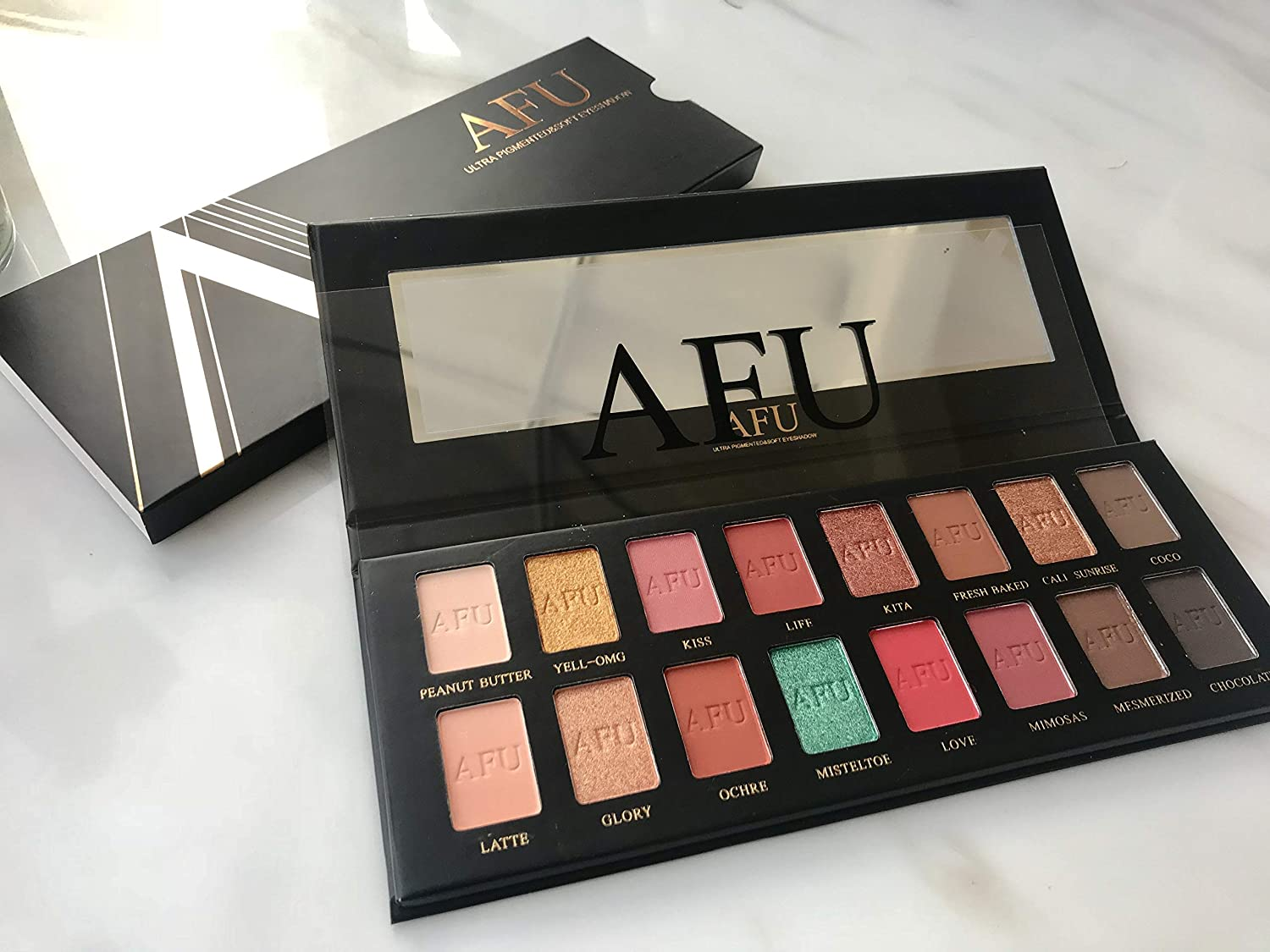 AFU Ultra Pigmented and Soft Eyeshadow Palette Matte + Shimmer 16 Colors Makeup Natural Bronze Neutral Smokey Blendable Waterproof Eye Shadows Cosmetic - E-15
