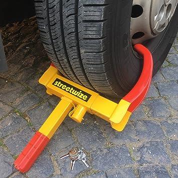 Garra para rueda universal TierXXL Streetwize con candado de seguridad y 3 llaves (SWWL2): Amazon.es: Coche y moto