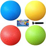 AppleRound 8.5 Inch Playground Balls (Set of 4) with 1 Hand Pump