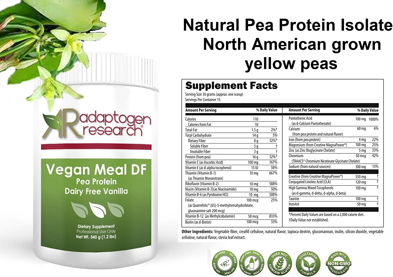 Vegan Meal DF PaleoSnack DF Pea Protein Meal Supplement Vanilla Plant Protein Powder from North American Farms Easy to Digest 540g
