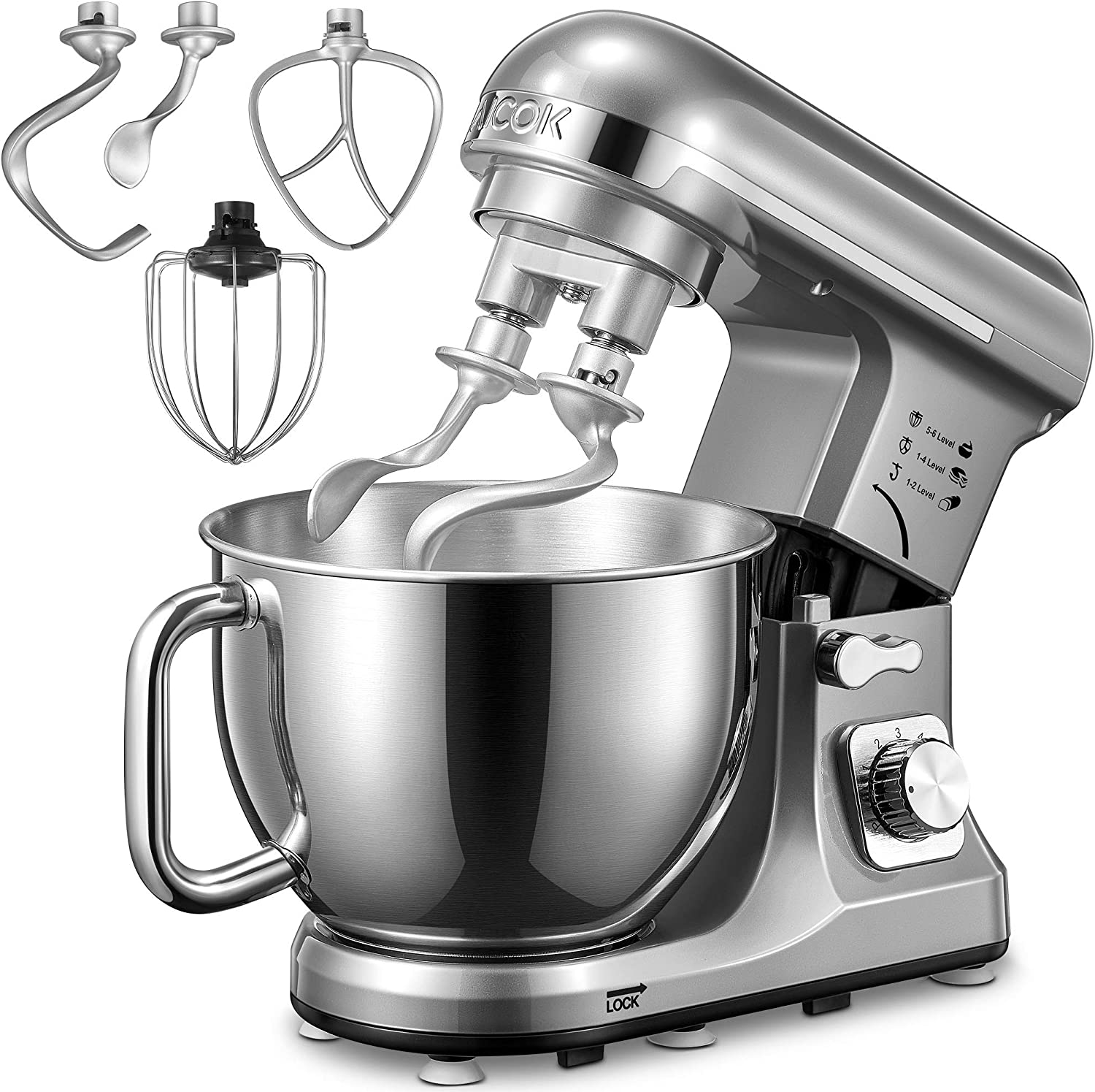 Stand Mixer, Aicok 5.5 Qt Dough Mixer with Double Dough Hooks, Whisk, Beater, Stainless Steel Bowl, 6 Speeds Tilt-Head Food Mixer, Kitchen Electric Mixer with Pouring Shield, Silver