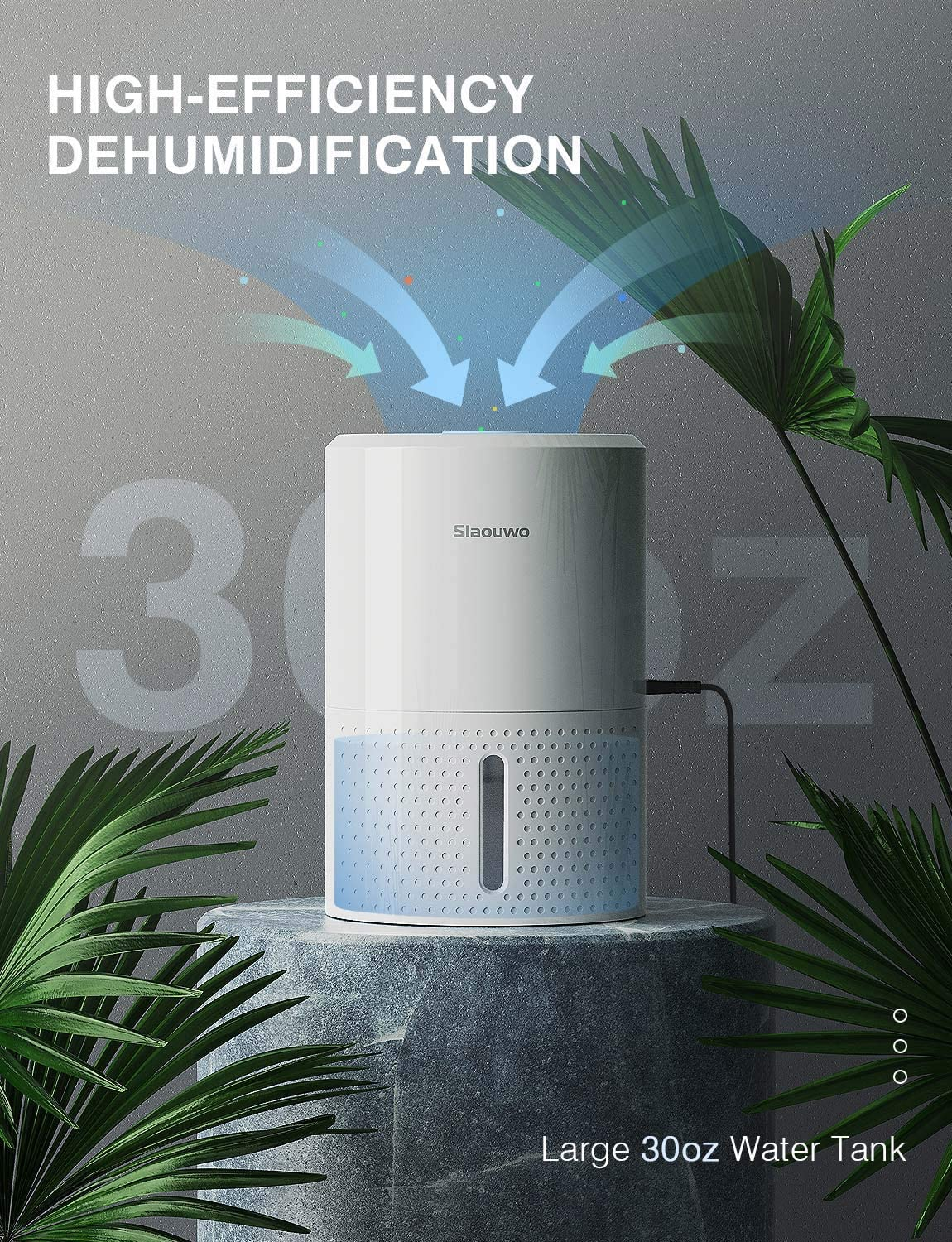 Small Dehumidifier Portable Dehumidifier with Indoor Digital Hygrometer Mini Dehumidifier with Fully Auto-Off 2200 Cubic Feet Bedroom Quiet Dehumidifiers for Home Closet Basements 190 Sq ft