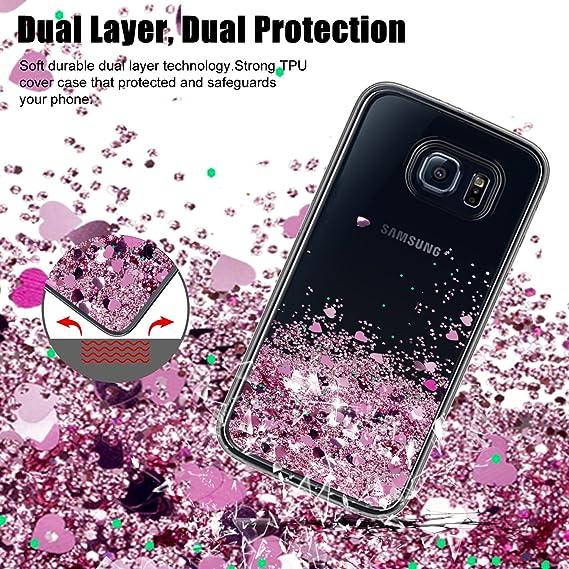Atump Funda Samsung Galaxy S6 Glitter Fundas Líquido Silicona TPU Antichoque Fundas de teléfono + Protector de Pantalla HD para teléfonos móviles Samsung ...