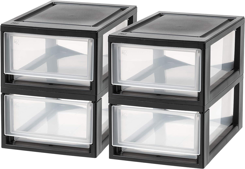 IRIS USA, Inc. MSD-1 Compact Stacking Drawer, Black, 6 Quart, 4-pack