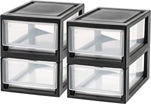 IRIS USA, Inc. MSD-1 Compact Stacking Drawer, Black, 6 Quart, 4-pack