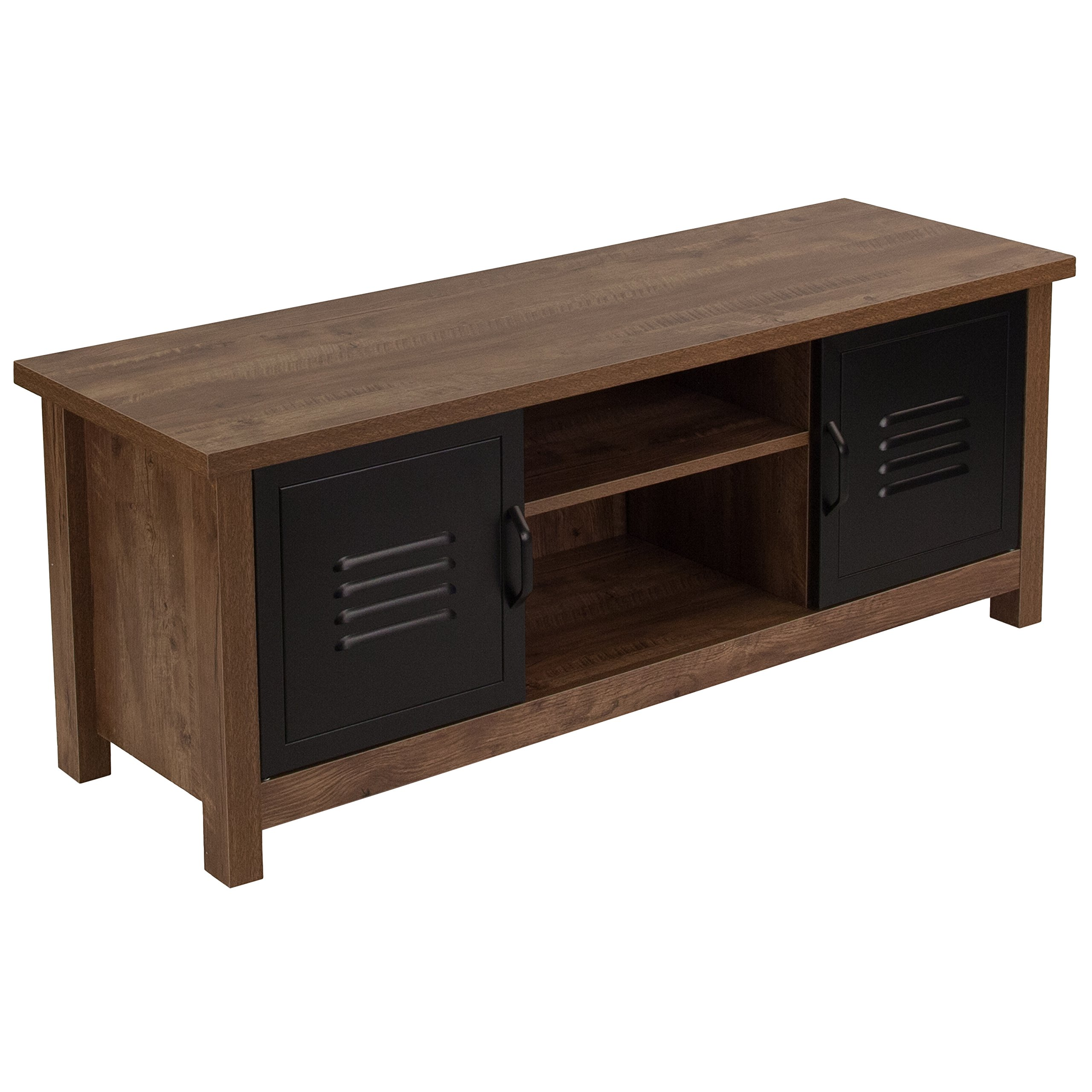 Flash Furniture New Lancaster Collection Crosscut Oak Wood Grain Finish Storage Bench with Metal Cabinet Doors