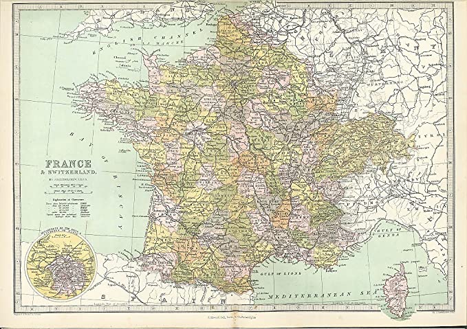 Map Of France Switzerland.France Switzerland Paris Inset Color Map 1877 At Amazon S