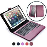 """Cooper Cases TM Infinite Executive 9""""–10.1inch Tablet Bluetooth Keyboard Folio in Dark Purple (Pleather Cover, Built-in Stand, Removable QWERTY Keyboard, Rechargeable Battery)"""