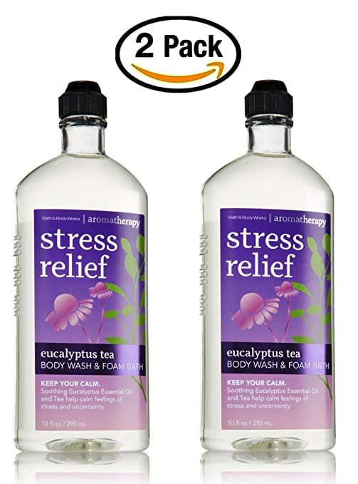 Lot of 2 Bath & Body Works Aromatherapy Eucalyptus Tea Body Wash & Foam Bath 10oz.