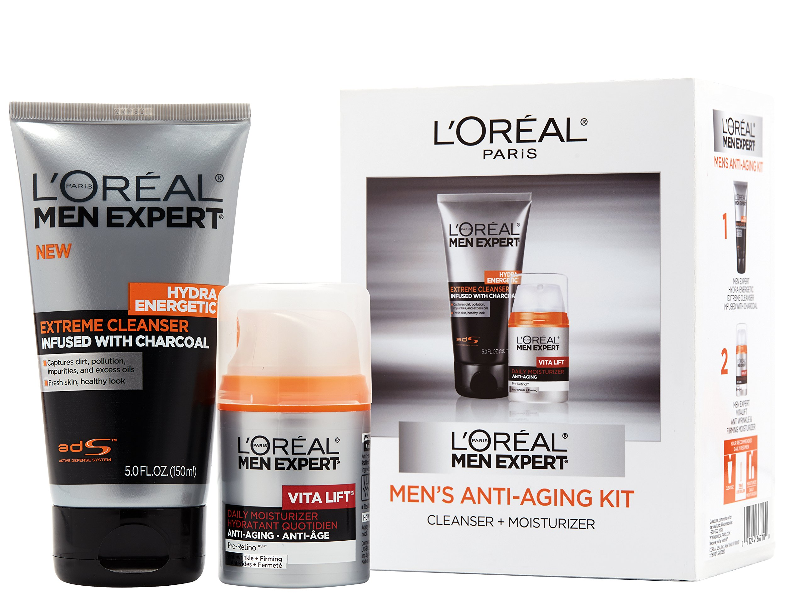 L'Oréal Paris Men Expert Anti-Aging Set including Facial Cleanser with Charcoal and Anti-Wrinkle & Firming Face Moisturizer with Pro-Retinol , 1 kit by L'Oreal Paris