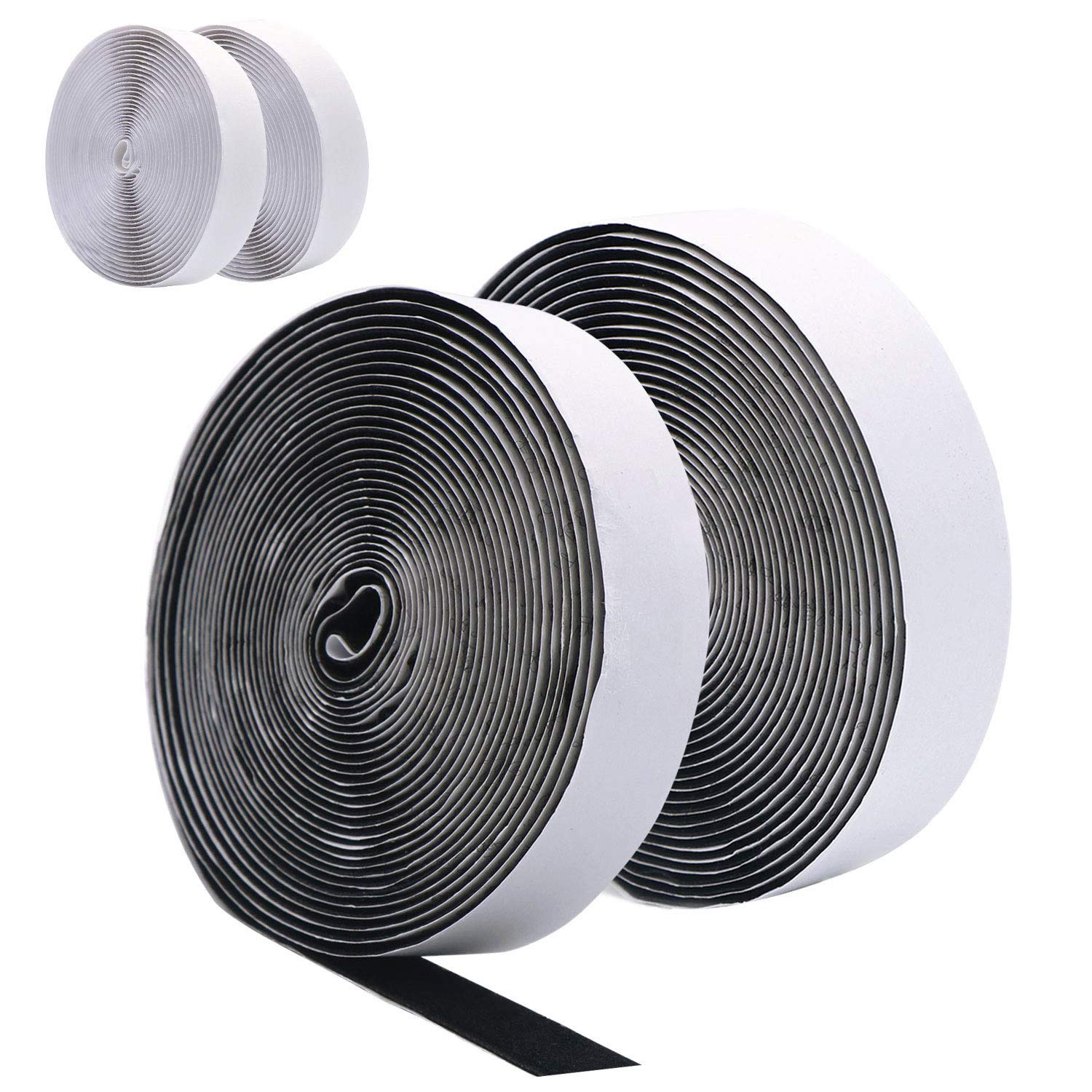 10M(4 Rolls 5M) Self Adhesive Hook and Loop Strip Tape by DigHealth, Double Sided Sticky Back Tape, Fabric Fastening Tapes, 20mm Wide Hook and Loop Fastener (2 Rolls in Black and 2 Rolls in White) YTM