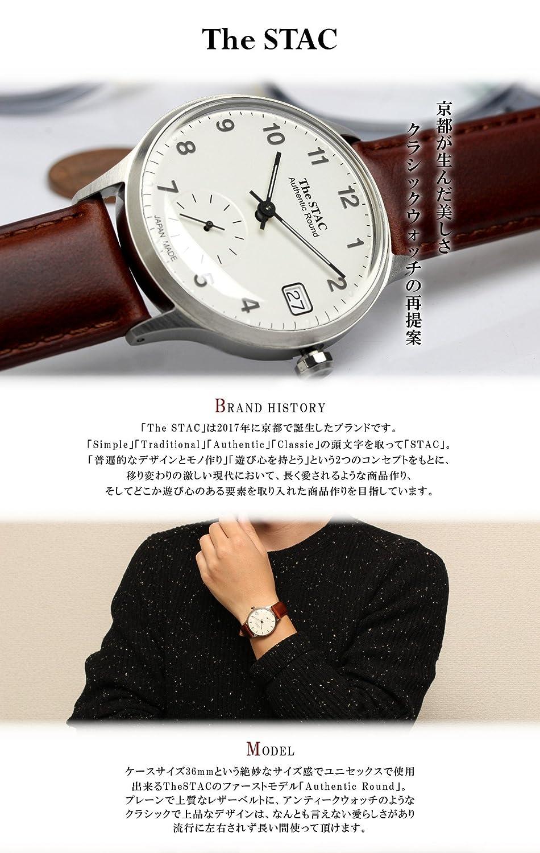 87a23681599c Amazon   [ザ・スタック] The STAC 日本製 腕時計 ウォッチ Authentic Round クラシック メンズ レディース (バー× シルバーブラック)   レディース腕時計   腕時計 ...